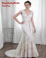 2017 Elegant Lace Mermaid Wedding Dress Sexy V Neck Cap Sleeve Backless Vestido Noiva Custom Made Plus Size Robe De Mariage