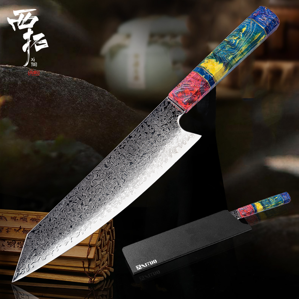 XITUO Handmade Kitchen Knife Damascus Chef Knife VG10 Japanese Damascus Steel Cleaver Kiritsuke Knives Home Tool Cooking SlicingXITUO Handmade Kitchen Knife Damascus Chef Knife VG10 Japanese Damascus Steel Cleaver Kiritsuke Knives Home Tool Cooking Slicing
