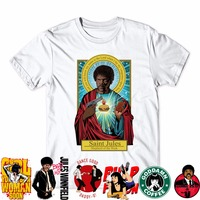 2017 Fashion Brand Pulp Fiction T Shirt Saint Jules Print T Shirt Summer Short Sleeve Shirts