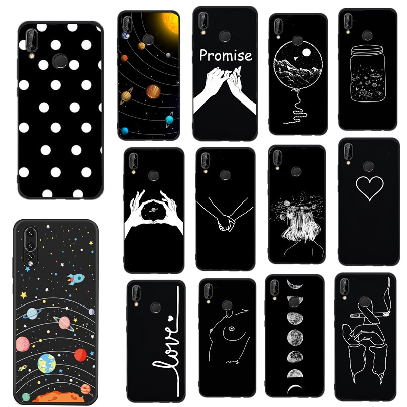 Hand in hand Case For Huawei Mate <font><b>10</b></font> Lite P8 P9 Lite 2017 P Smart <font><b>2018</b></font> Case Soft Art Cover Black For Huawei P10 P20 Lite Case image