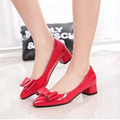 Hot Sale Women Thick High Heels Pumps Fashion Bow Red Ladies Shoes With Heels Wedding Bride Shoes Slip On Pumps For Women