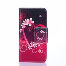 Colofrul padrão slot para cartão da flor do coração carteira estande couro pu tampa do caso da aleta para o htc one mini 2 m8 mini