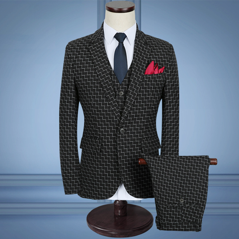 2020 Male Grid Fashion Clothing Business Suit To Marry The Groom Dress Children Wash And Wear A Three-piece Suit