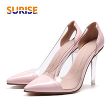 2e20945ea581 Big Size Summer High Heel Women Pumps Pointed Toe Clear PVC Patent leather  Wedding Lady Crystal Thin Spike Stiletto Jelly Shoes