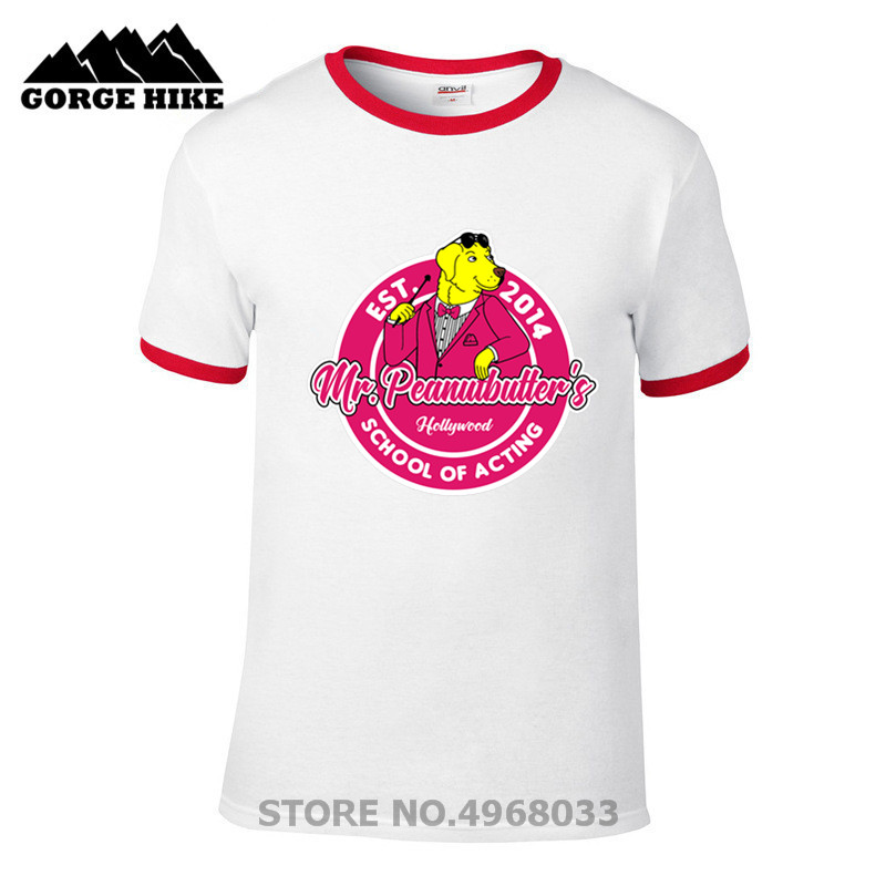 Male O Neck Print Movie school of acting Mr. Peanutbutter's hollywood bojack horseman Tshirt For Men and Women Summer Fashion image