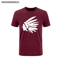 2017 MUXUEDESIGN Feathered head Indian Mens Men T Shirt T-shirt Fashion Short Sleeve Cotton Tshirt Tee Free Shipping