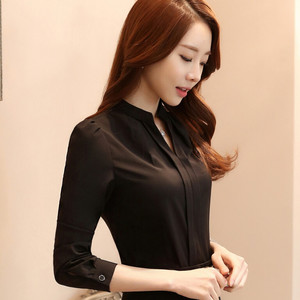 Image 2 - Spring Summer Fashion Women V Neck Shirt OL Elegant White Black Long Sleeve Chiffon Blouse Office Ladies Plus Size Tops
