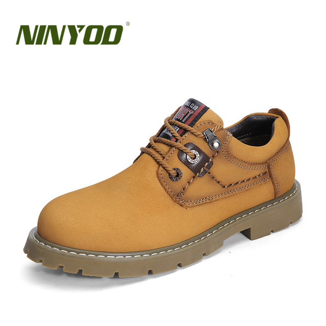 NINYOO New Autumn Winter Men Shoes 47 Genuine Leather Work Shoes 48 Outdoor Casual 49 Rubber Martens Shoes WPlus Size 50 51 52