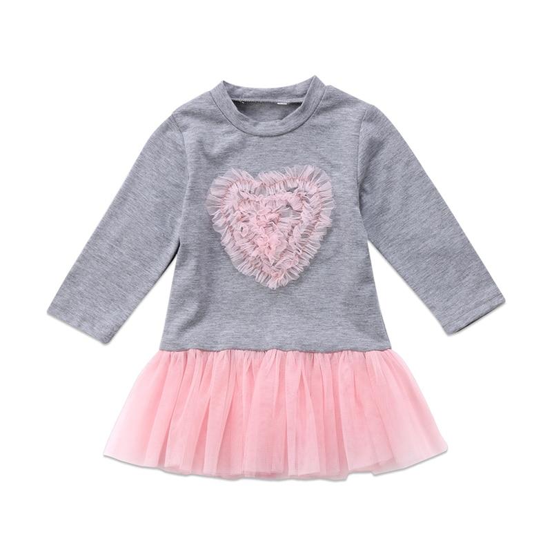 eb32cb146 2018 disfraces de Año Nuevo para niñas moda niños bebé niña de manga larga  Corazón de encaje tutú vestido de tul ropa de bebé niñas lindo Vestido