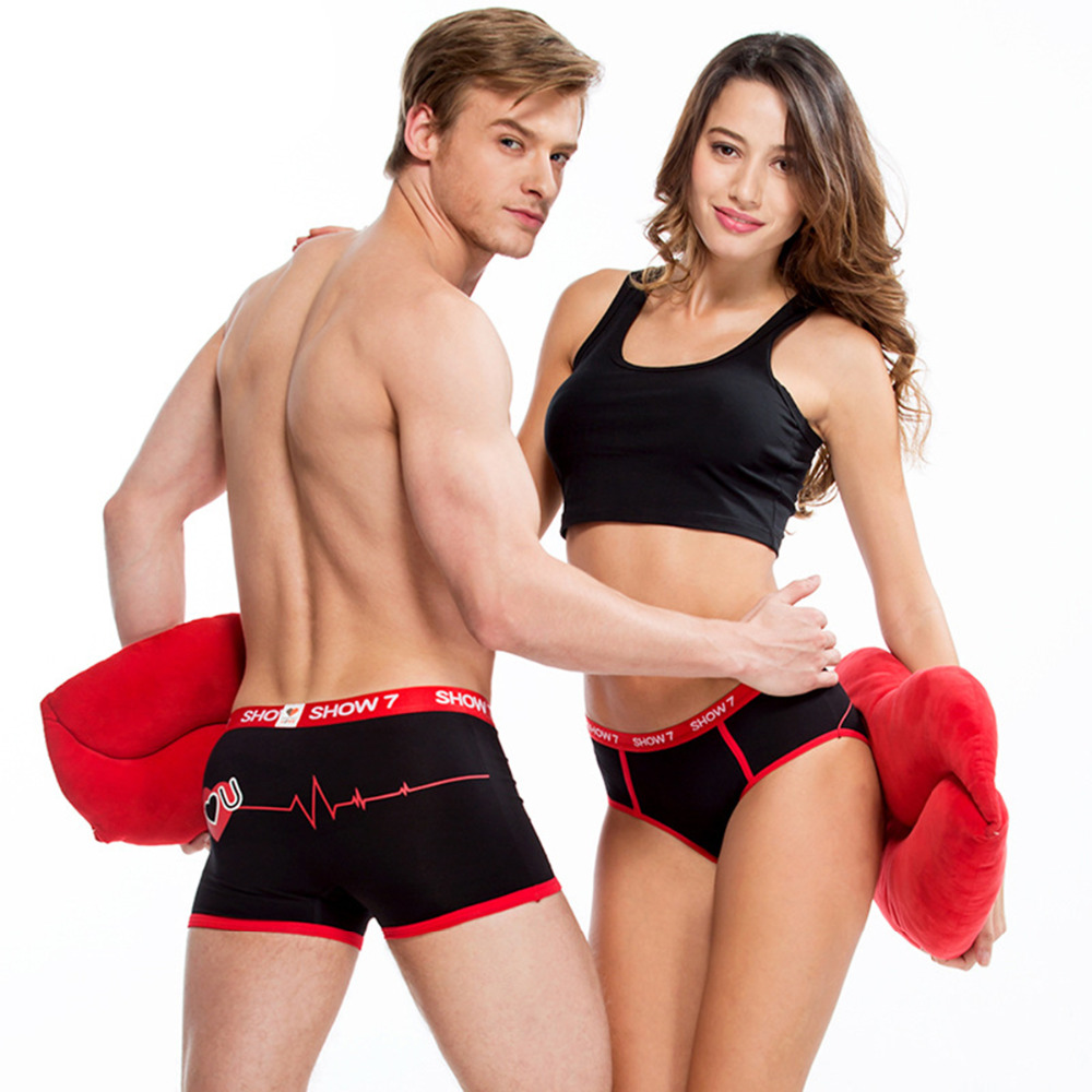Couple Underwear Heartbeat Black Red Women Panties Men Boxer Sexy Lover Valentines Day Gift I Love You 1Piece