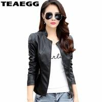 TEAEGG Female Leather Jackets Women Clothes Veste Cuir Femme Black Faux Leather Jacket Women Coat Jaqueta De Couro Plus SizeAL23