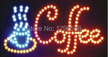 2017 Coffee shop open neon signs direct selling customed 10x19 inch indoor coffee store Ultra Bright flashing led sign