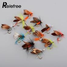 12pcs/Lot 2cm Fishing Flies Dry Fly Tackle Lures Butterfly Barb Single Hooks Set Lead Jig Head Hook Outdoor Fishhook Tackle