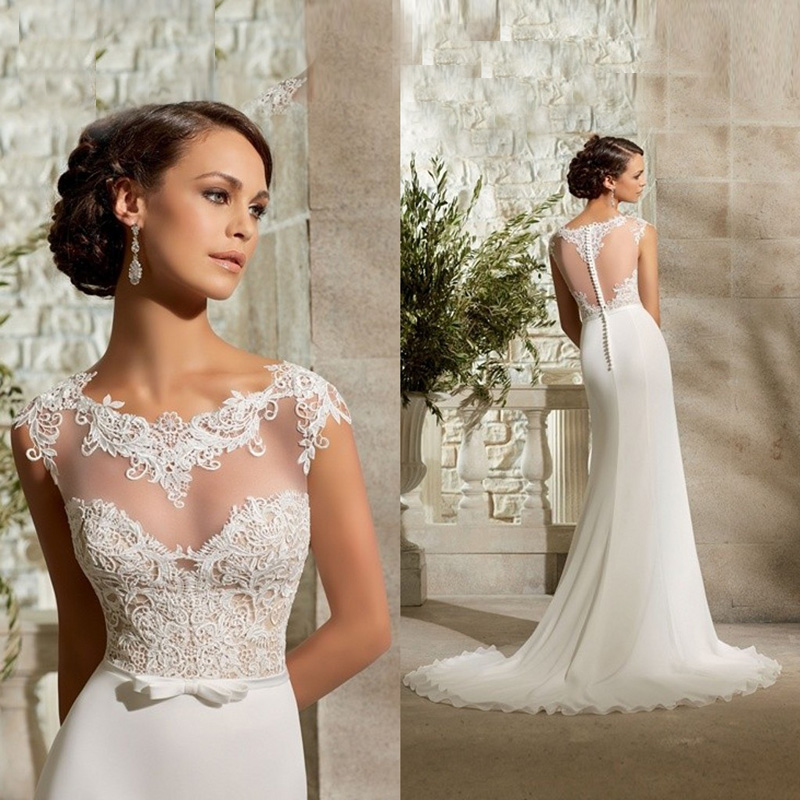 Affordable Wedding Dress Designers: Cheap New Design Sheath Wedding Dresses Scoop Neck Cap