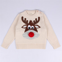 2016 New Arrival 1-5Y Children Girls Boys Christmas Sweater Cute Cartoon Deer Pattern Baby Clothing