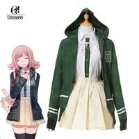 ROLECOS Anime Super DanganRonpa 2 Cosplay Costume Chiaki Nanami Cosplay Costume Girl School Uniform Women Green Jacket Full Set