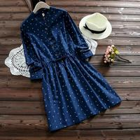 2017 Japanese Seagull Pleated Ruffle Navy Blue Shirt Dress Women Causal Spring Drawstring Square Buttons Plus