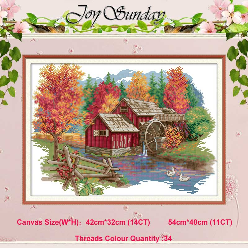 Mill Cabin Countryside Counted 11CT 14CT Cross Stitch Set DIY DMC Scenery Cross-stitch Kit Embroidery Needlework Home Decor