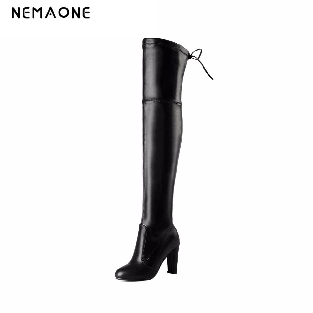 NEMAONE Womens Sexy Slim Stretch Thigh High Boots Faux Leather High Heel Over the Knee Boots