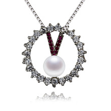 SNH 100% 925 sterling silver real freshwater pearl pendant necklace 5mm AAA pure spherical pearl pendant jewellery