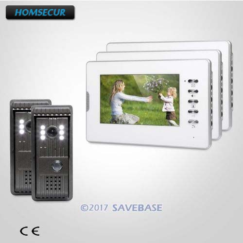 HOMSECUR Color 7inch Wired Video Door Intercom System Electric Lock Supported for Home Security 2V3 intercom system for home 7inch color ccd camera video intercom with electric lock door phone intercom video bell ip65 waterproof