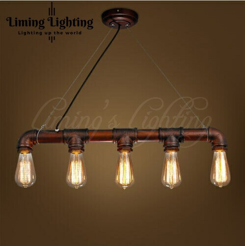 LOFT VINTAGE Edison Iron Personalized Bar Lighting Counter Lamps Vintage Pendant Lights Water Pipe Lamp 5pcs E27 bulbs 110V-240V
