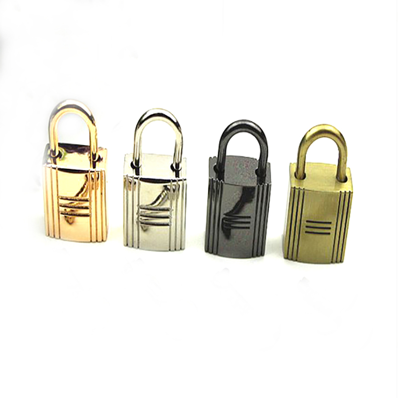 Large Silver Colored Grooved Square Working Padlock Without Key