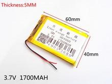 3.7V,1700mAH,504060 PLIB; polymer lithium ion / Li-ion battery for GPS,mp3,mp4,mp5,dvd,bluetooth,model toy mobile bluetoo