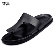 British retro cowhide slippers men summer mens roma sandals flip-flops Genuine Leather beach shoes thick bottom
