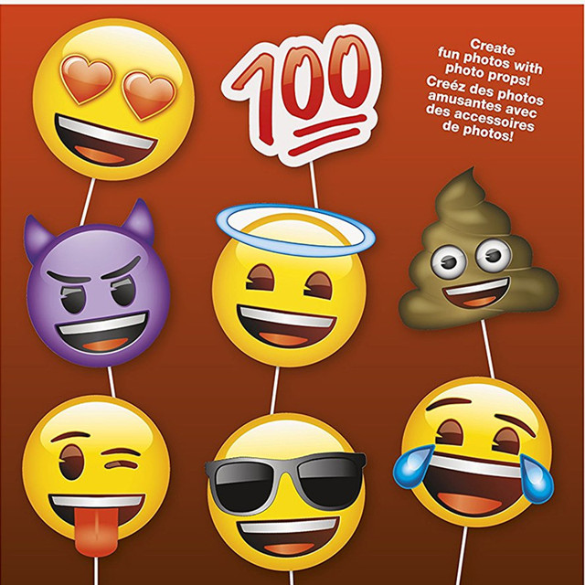 8 Emoji Photo Booth Props Party Fun Favor DIY Kit For Happy Birthday Banner Supplies Wedding