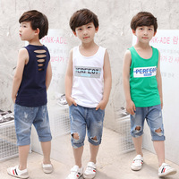 Sommer Casual Jungen Weste Kleidung + Jeans Hosen Kinder Anzug Kinder Junge Kleidung Kinder Sport Anzug Kinder Trainingsanzug Y759