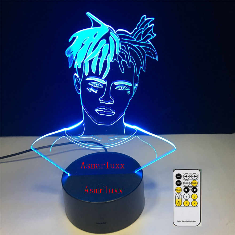 XXXTentacion the Slump God Rapper 3D LED Lamp Illusion 7 Colors Changing Table Night Light Baby Bedside Decoration Lamp DropShip