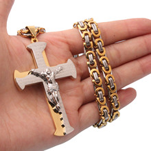 Mens Gold Color Necklace Jewelry 6mm Stainless Steel Byzantine Chain Unique Cross Pendant 18-36 Inches Customized Size