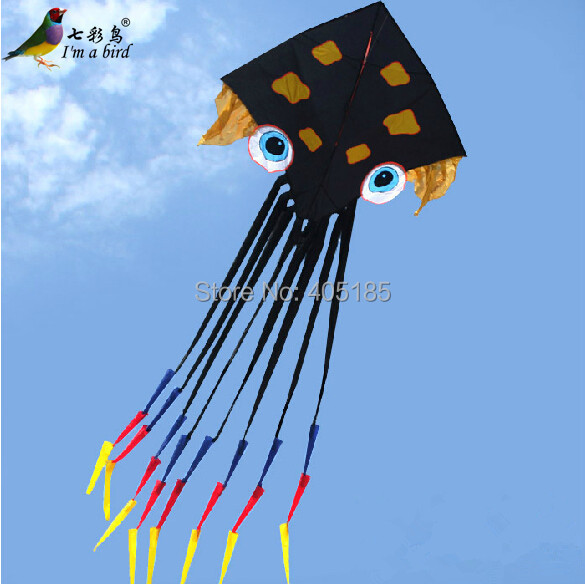Free Shipping Outdoor Fun Sports Power Octopus Kite /Plane Octopus With Windsock Tail Good Flying