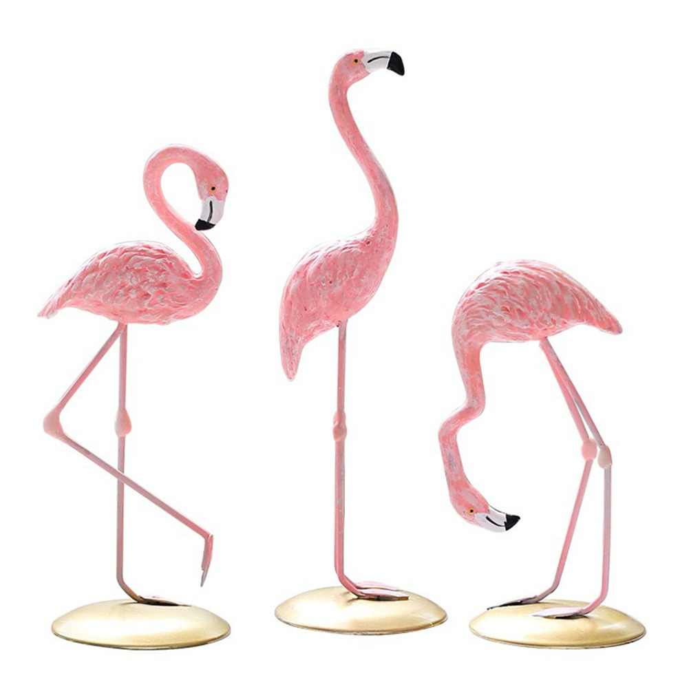 Pink Flamingo Desktop Lovely Figure Home Decoration Gift for Girls 1 Piece Flamingo Mini Sculpture Statue Living Room Decoration