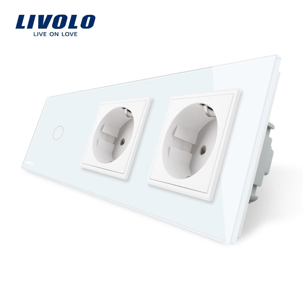 Livolo estándar de la UE nueva hembra de alimentación AC 220 ~ 250 V Cristal de vidrio de Panel 2 enchufes de pared con el interruptor del tacto