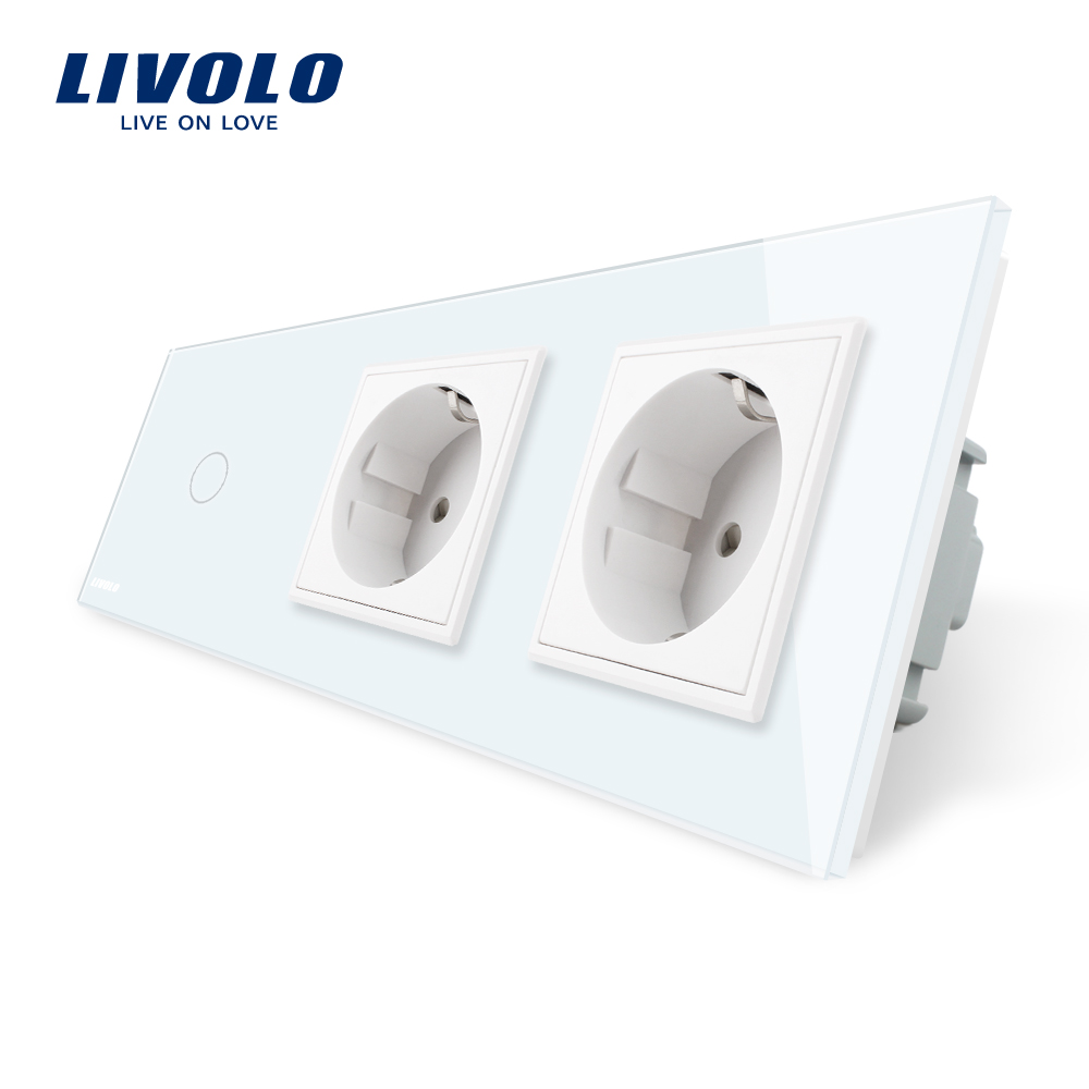 цена на Livolo EU Standard New Power Socket, AC 220~250V,White Crystal Glass Outlet Panel, 2Gang Wall Sockets with Touch Switch
