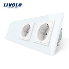 Livolo Estándar de LA UE Nueva Toma de Corriente, AC 220 ~ 250 V, Panel de Cristal Cristal Blanco, 2 Gang Pared Enchufes con Interruptor de Contacto