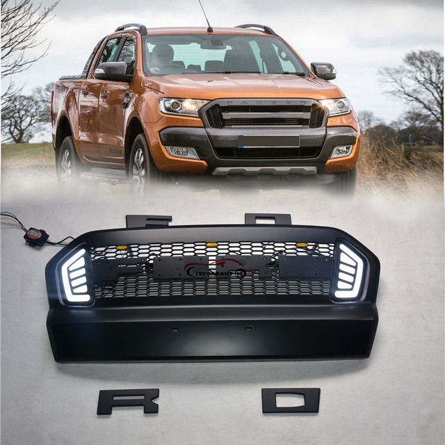 FUR 2015 2016 2017 Ford Ranger ABS Grille Mit LED Schwarz Kuhlergrill Umgibt Trim Geeignet