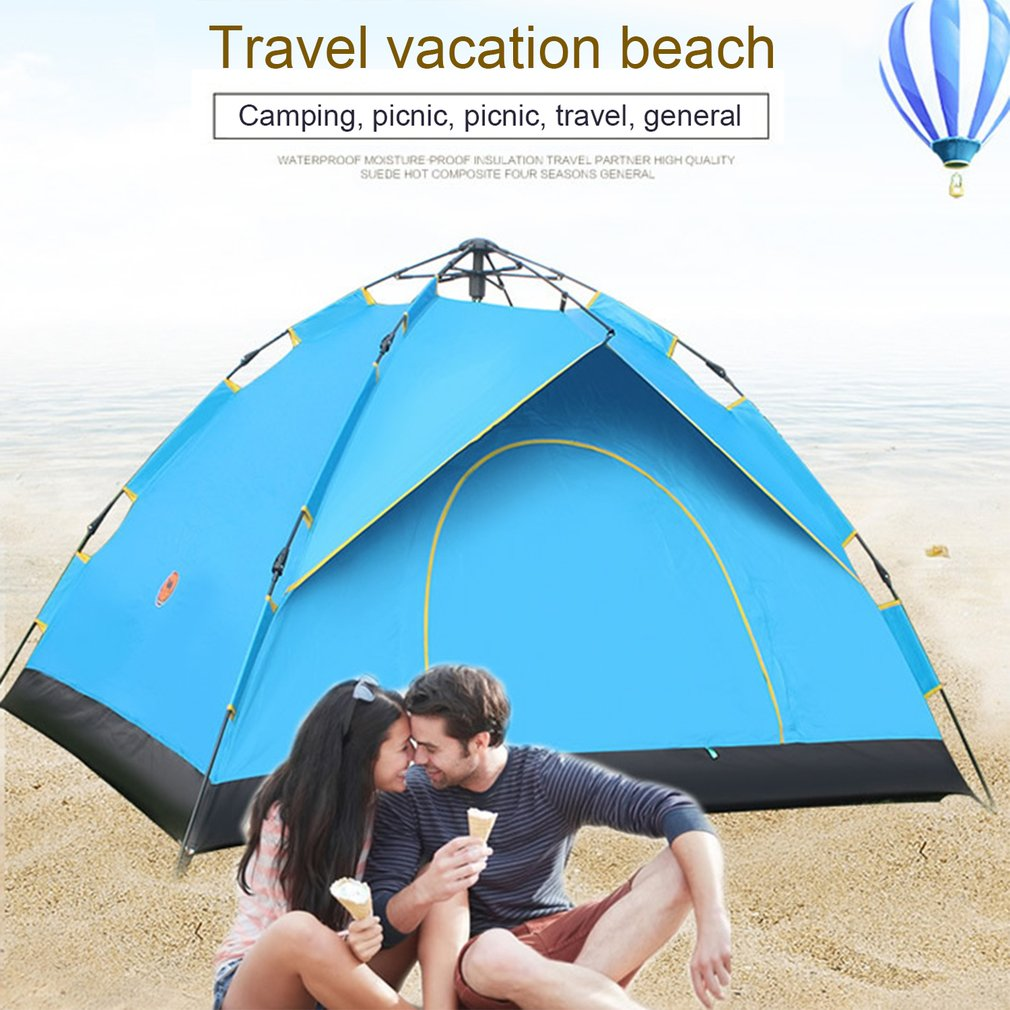 New Desert Camel Automatic Tent Beach Tent Single-layer Waterproof Outdoor Camping Tent 2 Person Leisure Tent For Travel fishing 5 6 person huge 2 layer automatic rainproof sunshade shelter hiking travel fishing beach family awning outdoor camping tent