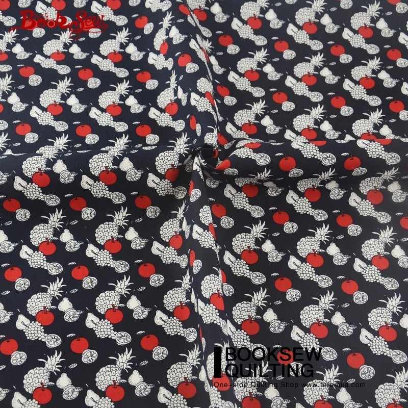 Книжная сшитая хлопковая Поплин Ткань маленькие фрукты лоскутное черные куклы Детская кровать ткань на простыни платье постельные принадлежности украшение дома