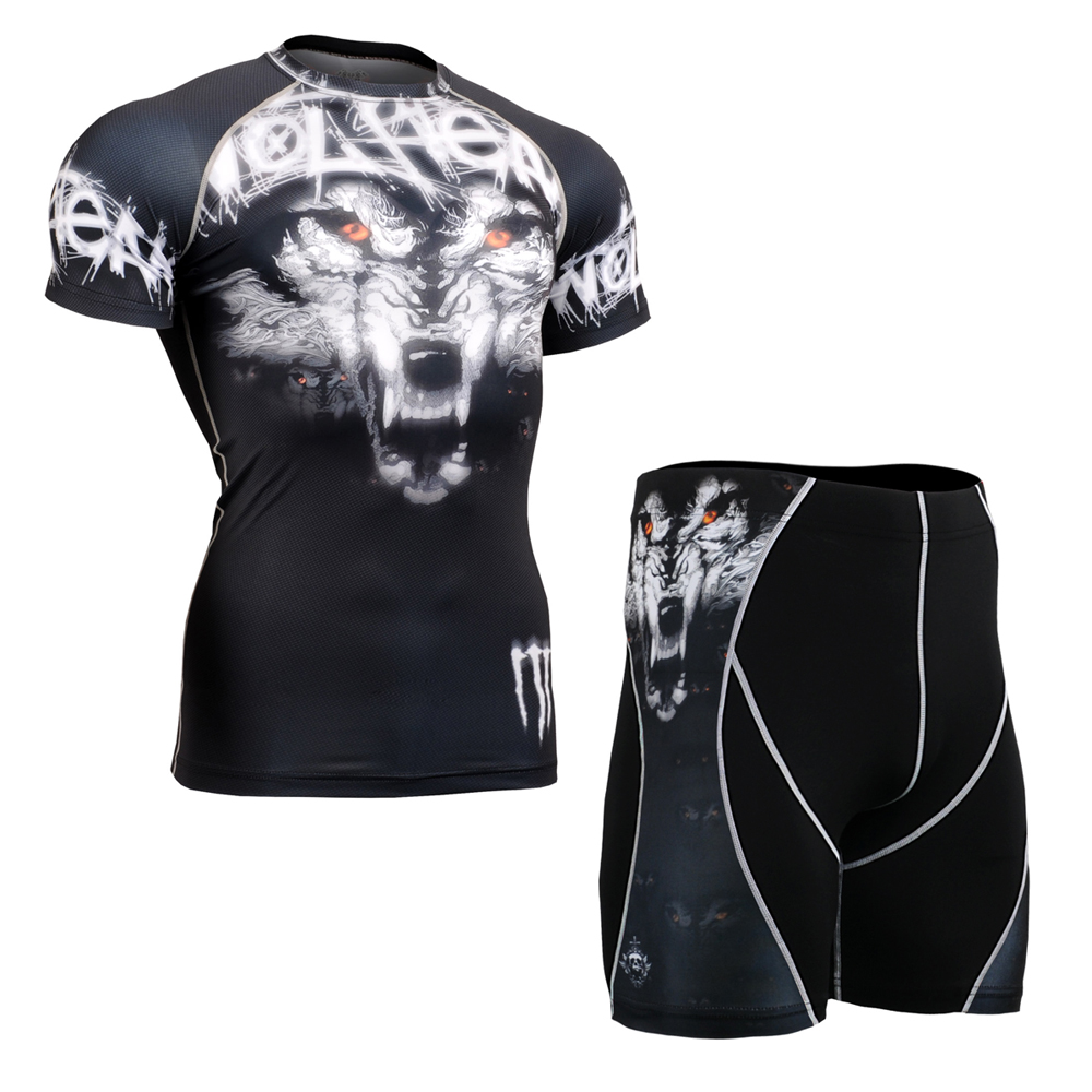 Men's Wolf Print Workout TShirt & Shorts Compression Short Sleeve Quick Dry Running Sports Clothing Set Tight Exercise Tracksui good quality wholesale custom mens fitness running compression set suit shorts tshirt