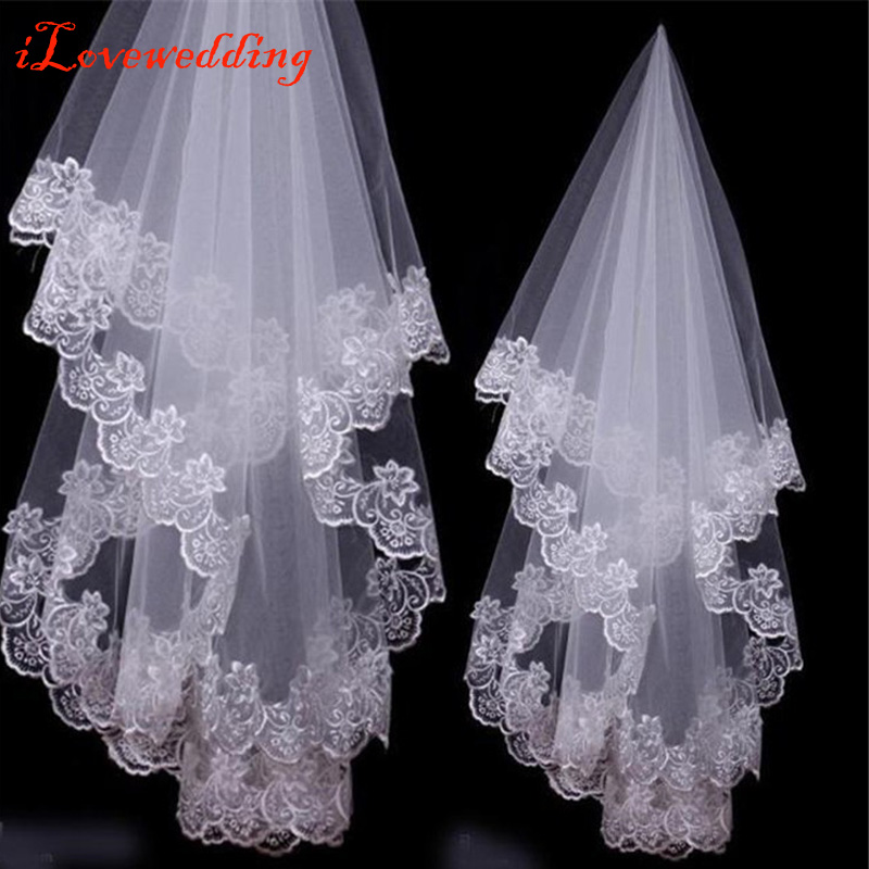 Free Shipping White/Ivory Lace Applique Edge One Layer 1.5 M Long Wedding Veil/Bridal Veil/Bridal Accessories Cheap
