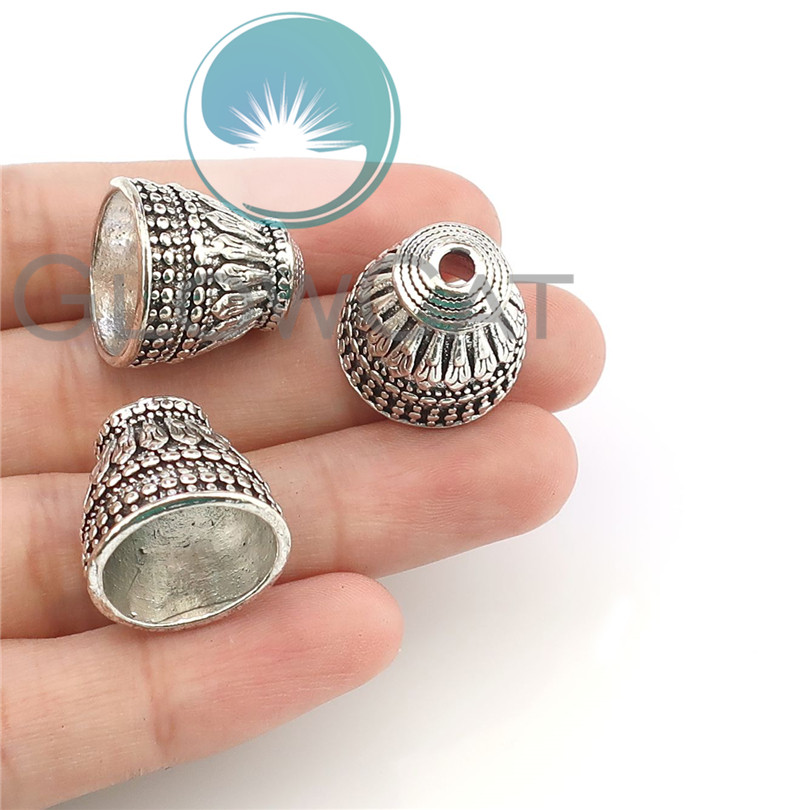 16*17mm Antique Silver Engraved Cone Tube Spacers Beads Caps DIY Jewelry Making Accessories 5pcs 22349