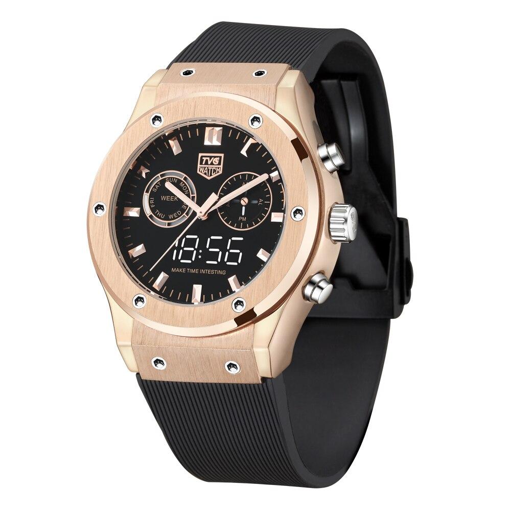 TVG Top Marke Luxus Männer Uhren Sport Wasserdicht Dual-Display Uhr Analog Digital Quarz Uhr Rose Gold Relogios Masculino