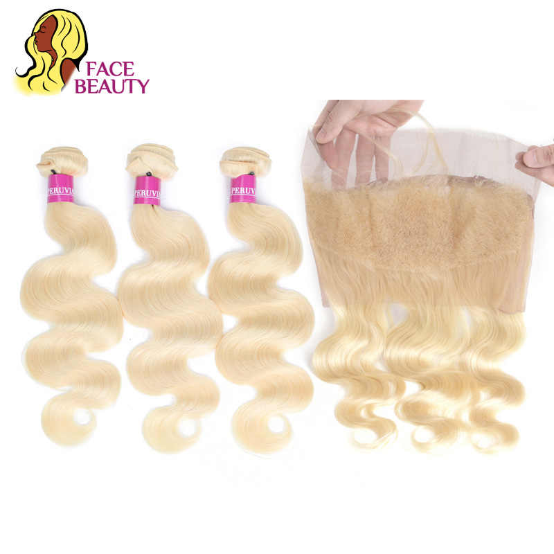 Facebeauty 613 Honey Blonde Weft Peruvian Remy Human Hair Body Wave 2/3/4 Bundles with Frontal Closure 360 Swiss Lace Preplucked