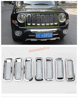 Chrome Front Grille Grill Bezel Tổ Ong Lưới Bìa 7 cái cho Jeep Patriot 2011-2015