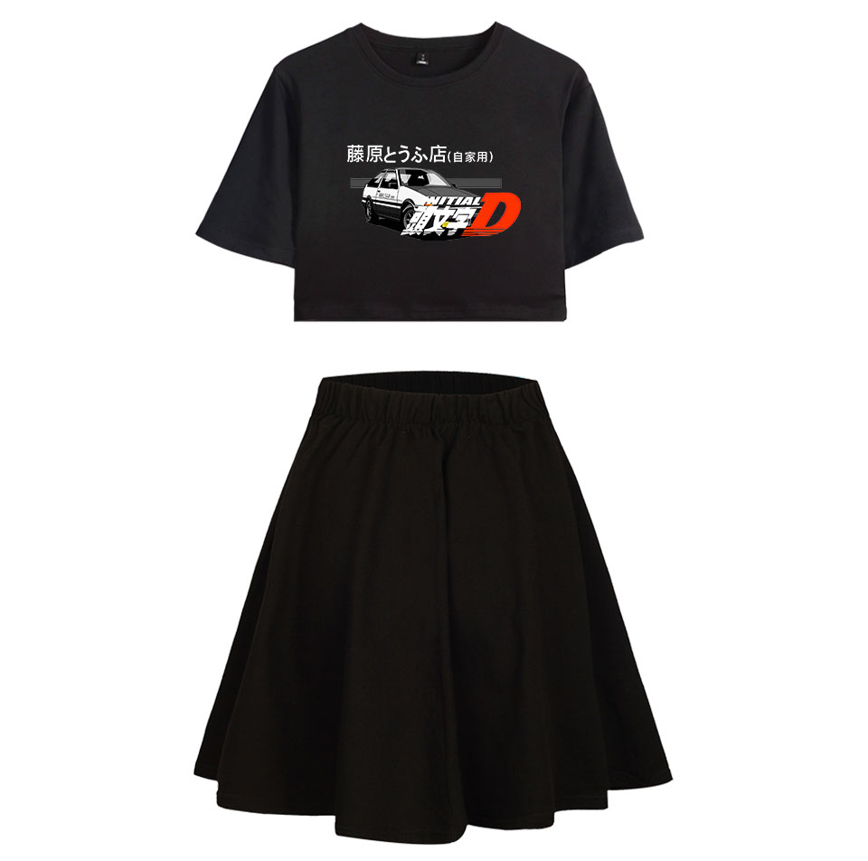 2019 Lnlitial D Short Skirt Short Sleeve T-shirt And Short Lnlitial D Skirt Suit Two Piece High Quality Casual New Set Summer