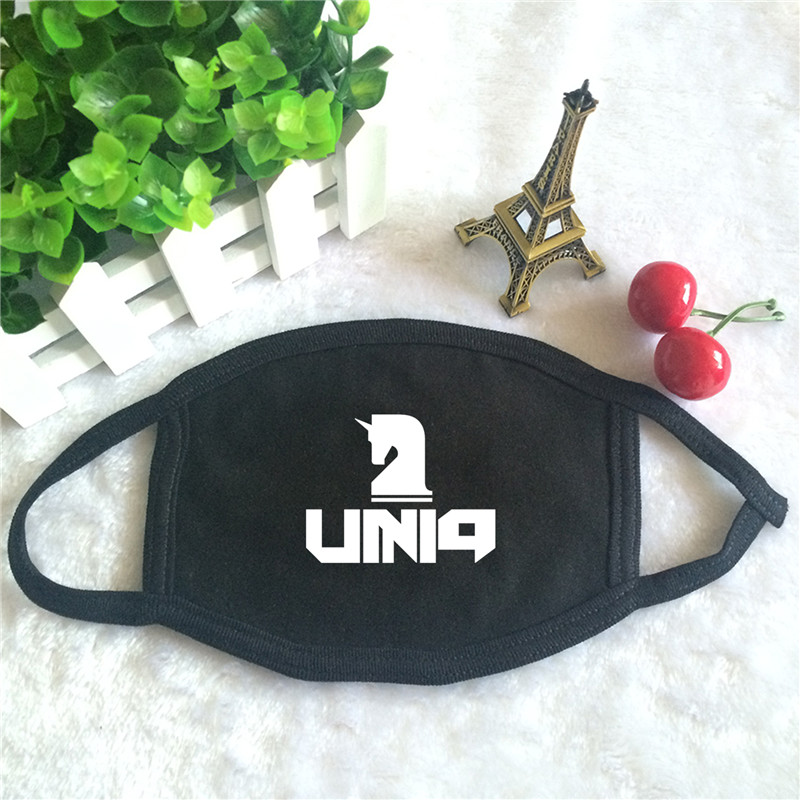Kpop UNIQ Album Logo Print K-pop Fashion Face Masks Unisex Cotton Black Mouth Mask