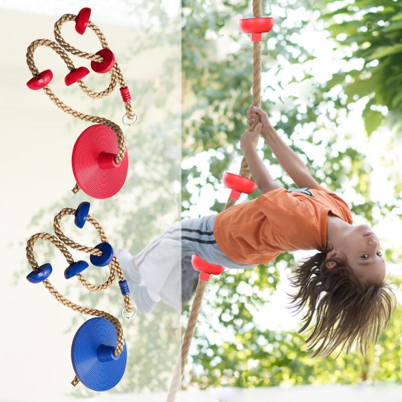 Jungle Gym Climbing Rope With Platforms And Disc Swing Seat Fitness Swing Set Accessories Kids Swing Seat Toy